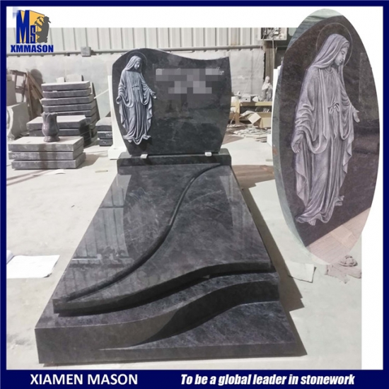 Tombstone Granite with Carved Virgin Mary