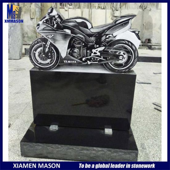 Granite Etched Motobike Headstone