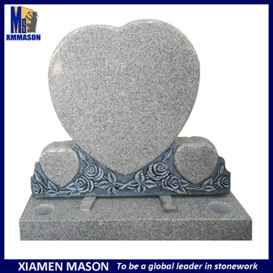 Tripe Heart Headstone with Hand Carved Flowers