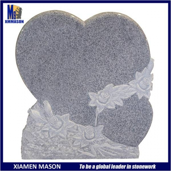 China Grey Granite Gravestone with  Heart And Flowers